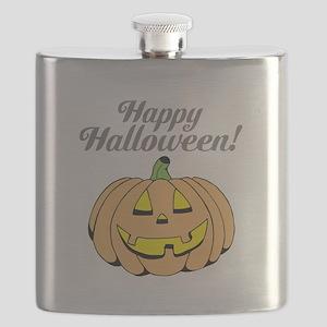 Jack o lantern pumpkin face carving Flask
