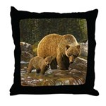 Grizzly Bear and Cub Throw Pillow