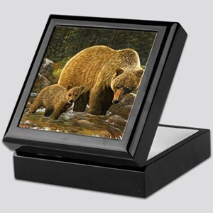 Grizzly Bear and Cub Keepsake Box