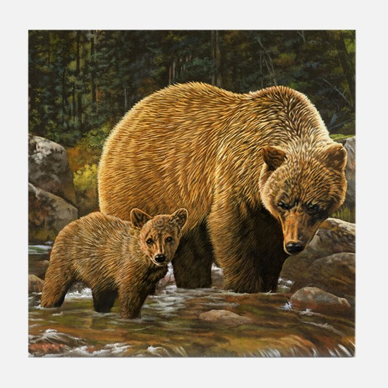 Grizzly Bear and Cub Tile Coaster