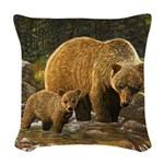 Grizzly Bear and Cub Woven Throw Pillow