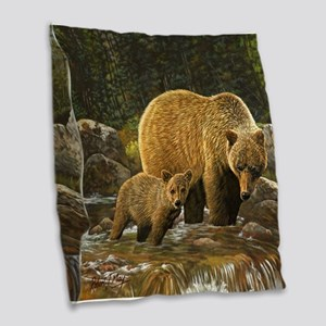 Grizzly Bear And Cub Burlap Throw Pillow