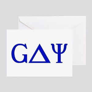 Gay (Greek Letters) Blue Greeting Cards (Package o