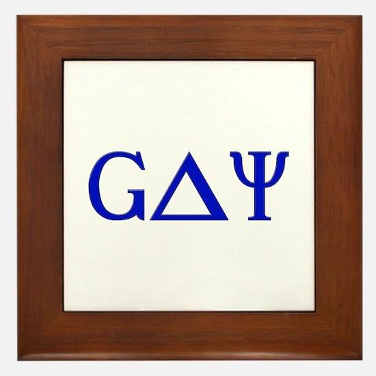 Gay (Greek Letters) Blue Framed Tile