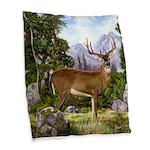 White Tailed Deer Burlap Throw Pillow