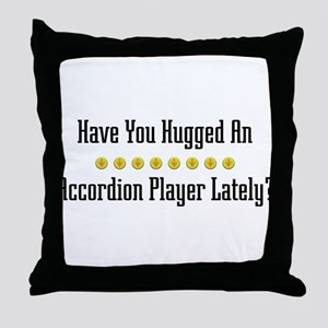 Hugged Accordion Player Throw Pillow