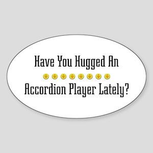 Hugged Accordion Player Oval Sticker