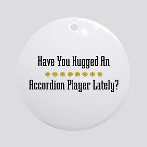 Hugged Accordion Player Ornament (Round)