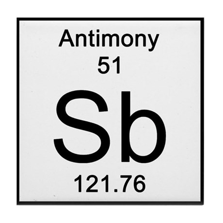periodic table antimony tile coaster by science_lady
