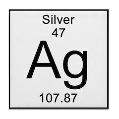 Periodic Table Silver Tile Coaster