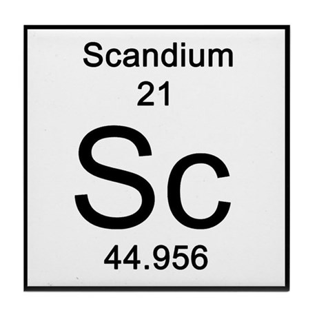 Periodic Table Scandium Tile Coaster By Sciencelady