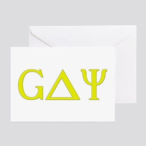 Gay (Greek Letters) Yellow Greeting Cards (Package