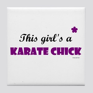 This Girl's A Karate Chick (Grape) Tile Coaster