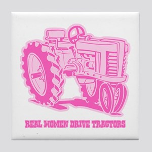 Real Women Drive Tractors Tile Coaster