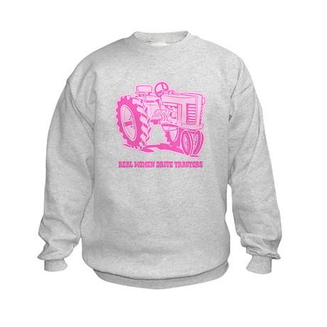 Real Women Drive Tractors Kids Sweatshirt