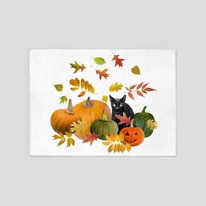 Black Cat Pumpkins 5'x7'Area Rug
