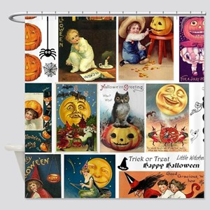 Halloween Vintage Greeting Card Col Shower Curtain