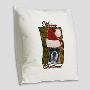 Christmas boxer Burlap Throw Pillow