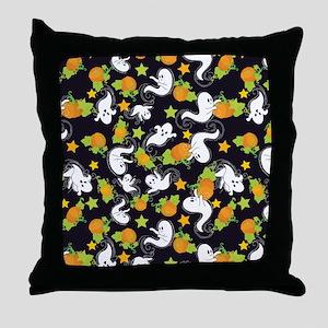 Halloween Ghosts and Pumpkins Throw Pillow