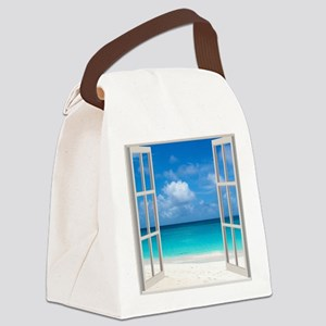 Tropical Beach Window View Anguil Canvas Lunch Bag
