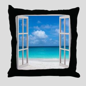 Tropical Beach Window View Anguilla Throw Pillow