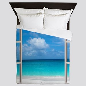 Tropical Beach Window View Anguilla Queen Duvet
