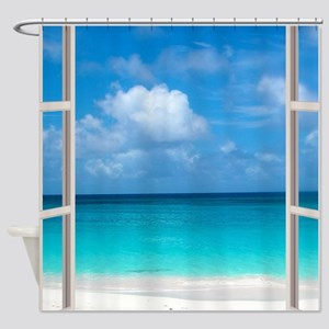 Tropical Beach Window View Anguilla Shower Curtain