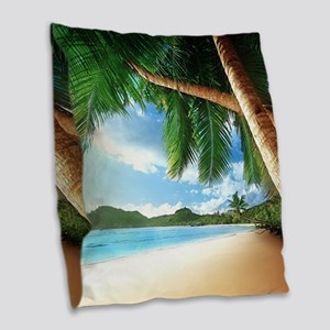 Beautiful Beach Burlap Throw Pillow