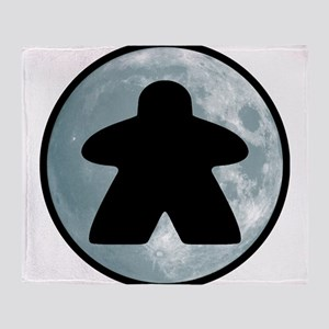 Halloween Meeple on Moon Throw Blanket