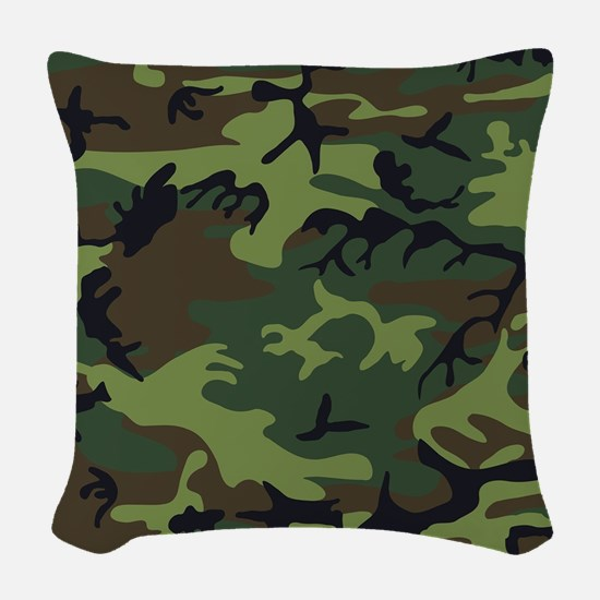 Combat Army Camouflage Woven Throw Pillow