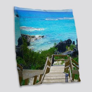 Church Bay Bermuda Tropical Be Burlap Throw Pillow