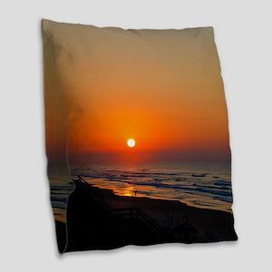 Beach Sunset in Topsail NC Burlap Throw Pillow