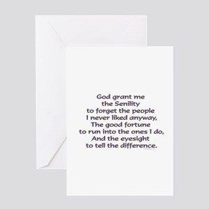God grant me the Senility Greeting Cards