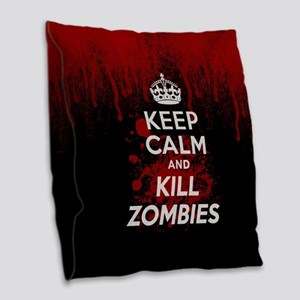 Keep Calm and Kill Zombies Burlap Throw Pillow