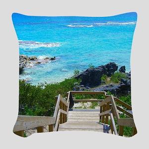 Church Bay Bermuda Tropical Be Woven Throw Pillow