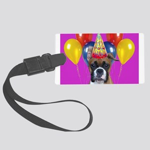 Birthday Boxer puppy Large Luggage Tag