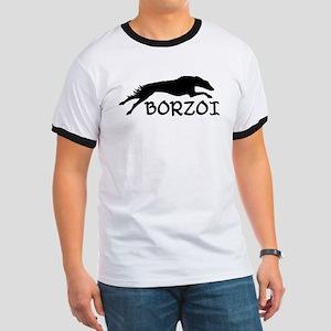 Running Borzoi w/Text Ringer T