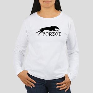 Running Borzoi w/Text Women's Long Sleeve T-Shirt