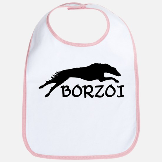 Running Borzoi w/Text Bib