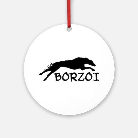 Running Borzoi w/Text Ornament (Round)