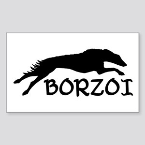Running Borzoi w/Text Rectangle Sticker
