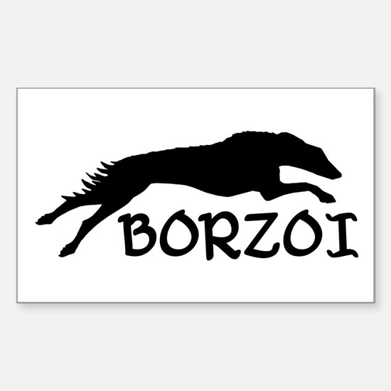 Running Borzoi w/Text Rectangle Decal