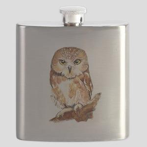 Watercolor Saw Whet Cute Little Owl Flask