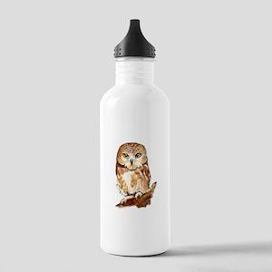 Watercolor Saw Whet Cute Little Owl Water Bottle