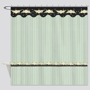 Floral Stripe Roses - Green Shower Curtain