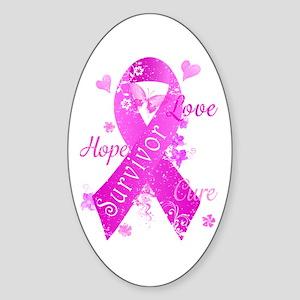 Survivor Love Hope Cure Sticker (Oval)