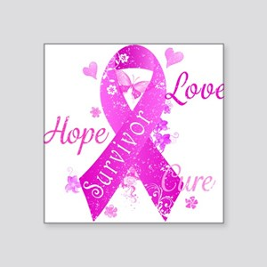 "Survivor Love Hope Cure Square Sticker 3"" x 3"""