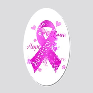 Survivor Love Hope Cure 20x12 Oval Wall Decal