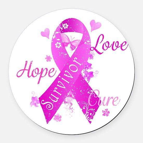 Survivor Love Hope Cure Round Car Magnet