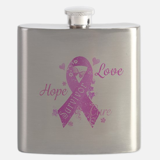 Survivor Love Hope Cure Flask